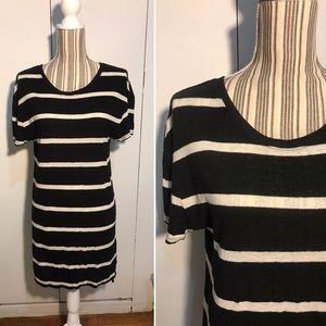 BDG Black and Cream Stripe Linen Blend Dress